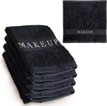 The Little Black Towel Makeup Remover Cloth (4 Pack) Plush Washcloths for Gentle Face Wash & Removing Eye Liner & Mascara, plus Foundation Eraser w/ Bleach Resistant Cotton & Soft Jacquard Lettering