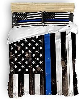 Libaoge 4 Pieces Bedding Sets, Thin Blue Line Police Duvet Cover Set, Honor Law Enforcement USA Vintage Flag,Include 1 Fla...