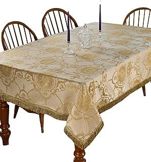 Violet Linen Prestige Damask Design Tablecloth, 60 in x 102 in, Beige