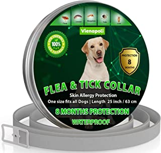 Natural Flea Treatment for Dogs – 8 Months Flea and Tick Collar Dog Protection – Adjustable Dog Flea Collar for Small, Med...