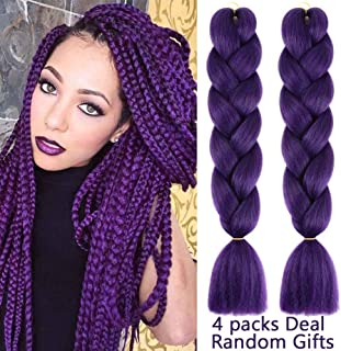 MYCHANSON Jumbo Braiding Hair Long Kanekalon Synthetic High Temperature Fiber African Twist Braids Hair (4pcs & Purple)