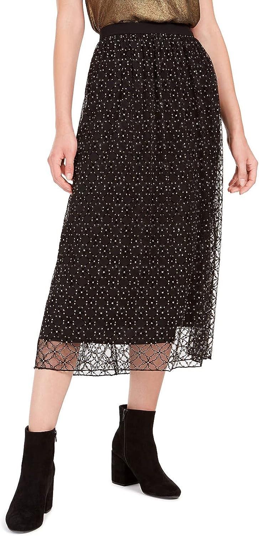 Bar III. Lace-Overlay Midi Skirt, Black/Gold L
