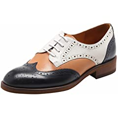 cb4a12b6a4 U-lite Women's Perforated Lace-up Wingtip Multicolor Leather .