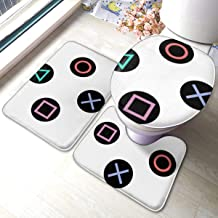 Play with Playstation Controller Buttons 3 Piece Non-Slip Bathroom Rugs Set Living Room Anti-Skid Pads Bath Mat + Toilet L...