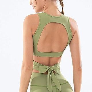 Yoga Wear Women's Solid Color Bandage Sports Bra Quick-Drying Halter Yoga Vest Fitness Running Sleeveless Halter Top