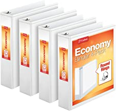 Cardinal Economy 3 Ring Binder, 2 Inch, Presentation View, White, Holds 475 Sheets, Nonstick, PVC Free, 4 Pack of Binders ...
