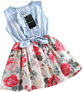 Girls Dress, Princess Dresses Sleeveless Denim Tops Floral Tutu Skirts