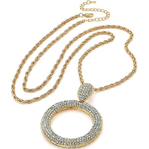 Silver colour crystal large round pendant choker chain necklace fashion jewelry