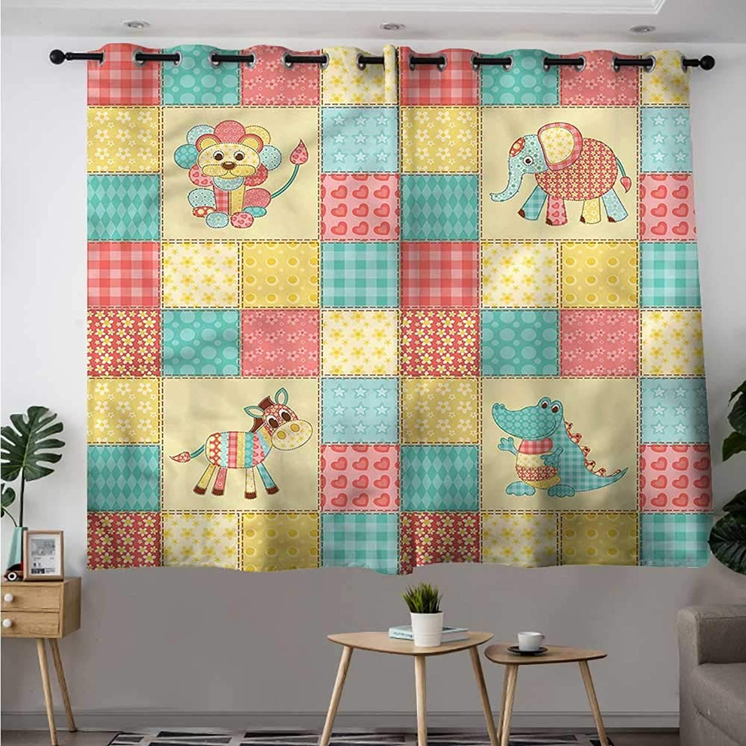 Fbdace Kids Simple Curtain Africa Animals Patchwork Style Darkening Thermal Insulated Blackout W 55  XL 39
