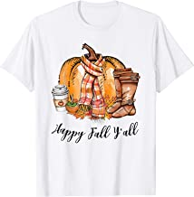 Happy Fall Y'all Pumpin Spice Latte Boots Maple Leaf Autumn T-Shirt