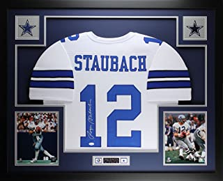 Roger Staubach Autographed White Cowboys Jersey - Beautifully Matted and Framed - Hand Signed By Roger Staubach and Certified Authentic by JSA COA - Includes Certificate of Authenticity