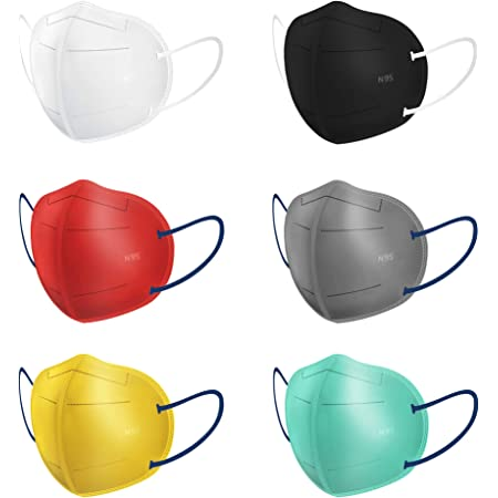 SWADESI STUFF Non-Woven Fabric Reuseable N95 Face Mask with Five Protective Layers (Multicolour, Without Valve, Pack of 6) for Unisex - CE, ISO, FDA & WHO-GMP Certified