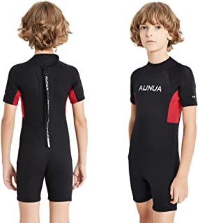 Aunua Children's 3mm Youth Swimming Suit Shorty Wetsuits Neoprene for Kids Keep Warm(7035 Black Red 4)