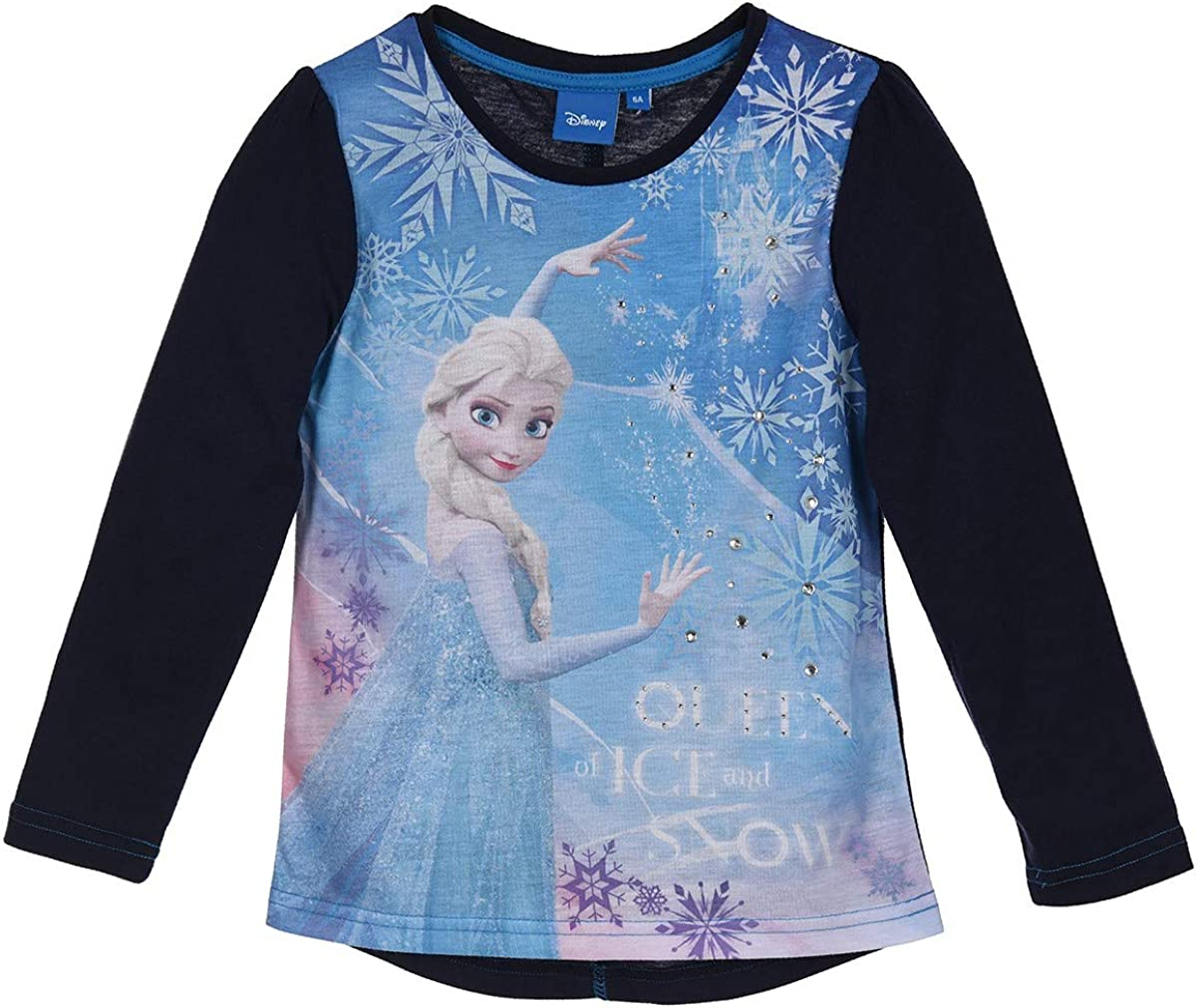Officially Licensed Disney Frozen Girls Long Sleeve T-Shirt (Blue, 4 Years)