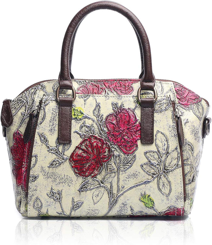 APHISON Womens Handbags Designer Unique Embossed Floral Cowhide Leather Anti-Slip Rivet Design Tote Style Ladies Top Handle Bags Shoulder Bags