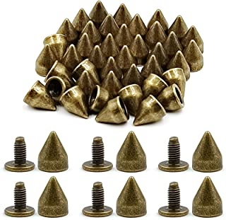 ACTENLY 100 Sets 9MM Studs Metal Bullet Cone Spikes Screw Back Leather Craft Rapid Rivet Screws Punk Studs and Spikes for ...