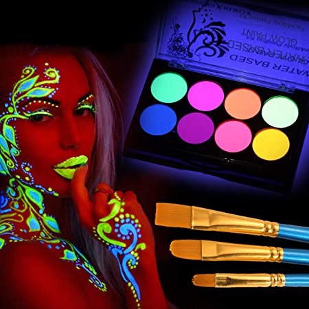 CCbeauty Luminous Body Paint UV Blacklight Glow Face Paint Makeup Palette Water Based Painting for Halloween with 10 Blue Brushes,1 Art Brush