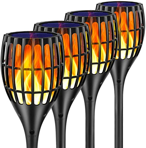 Ollivage Solar Lights Outdoor - Flickering Flames Torch Solar Path Light - Dancing Flame Lighting 96 LED Dusk to Dawn...