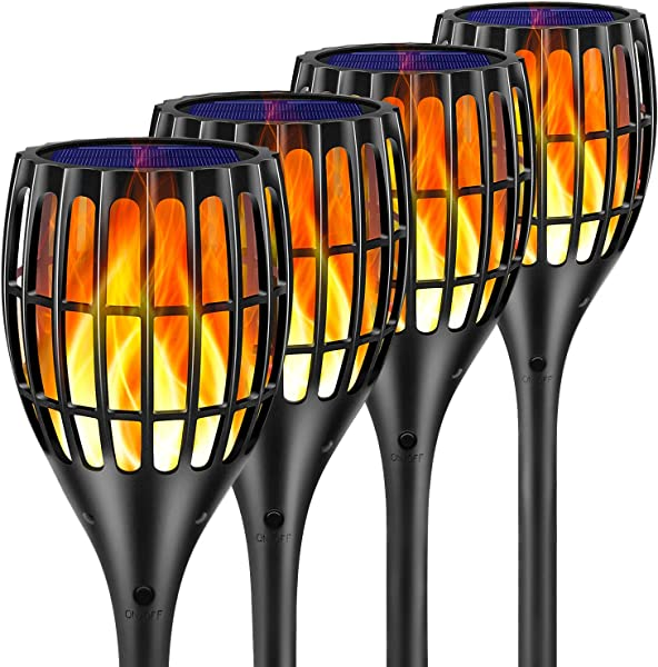 Ollivage Solar Lights Outdoor Flickering Flames Torch Solar Path Light Dancing Flame Lighting 96 LED Dusk To Dawn Flickering Tiki Torches Outdoor Waterproof Garden 4 Pack