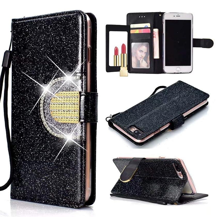 Ranyi iPhone 8 Plus Case, iPhone 7 Plus Case, Luxury Glitter Bling Leather Flip Wallet [5 Card Slots] [Rhinestones Button] Magnetic Flip Folio Wallet Case for Apple 5.5