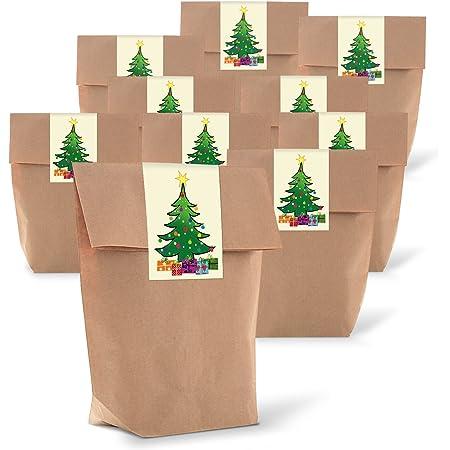 gef/üllt mit Ihren einzigartigen Geschenken 16 St/ück Weihnachtsgeschenkt/üten Kraftpapiert/üten f/ür Partytaschenf/üller
