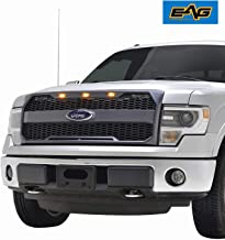 EAG Replacement Upper Grille ABS Mesh Front Grill Fit for 09-14 Ford F-150 - Charcoal Gray - with Amber LED Lights and Ford Emblem Housing