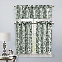 طقم ستائر وستائر نافذة المطبخ 3 قطع Home Maison Gala Floral من 3 قطع، طبقتان 29 × 36 & ستارة قصيرة واحدة 58 × 15، أزرق