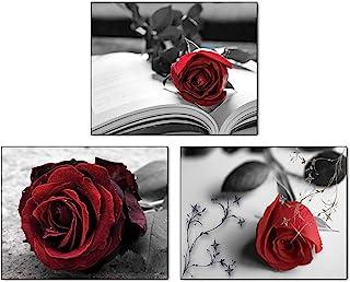 Home Decor Flower bouquet Housewarming Gift Framed painting Wall decor Scarlet roses Alpine Roses Over the dresser art Wall Art