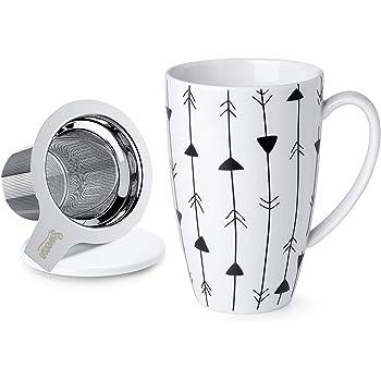 Sweese 201.205 Porcelain Tea Mug with Infuser and Lid, 15 OZ, Arrow