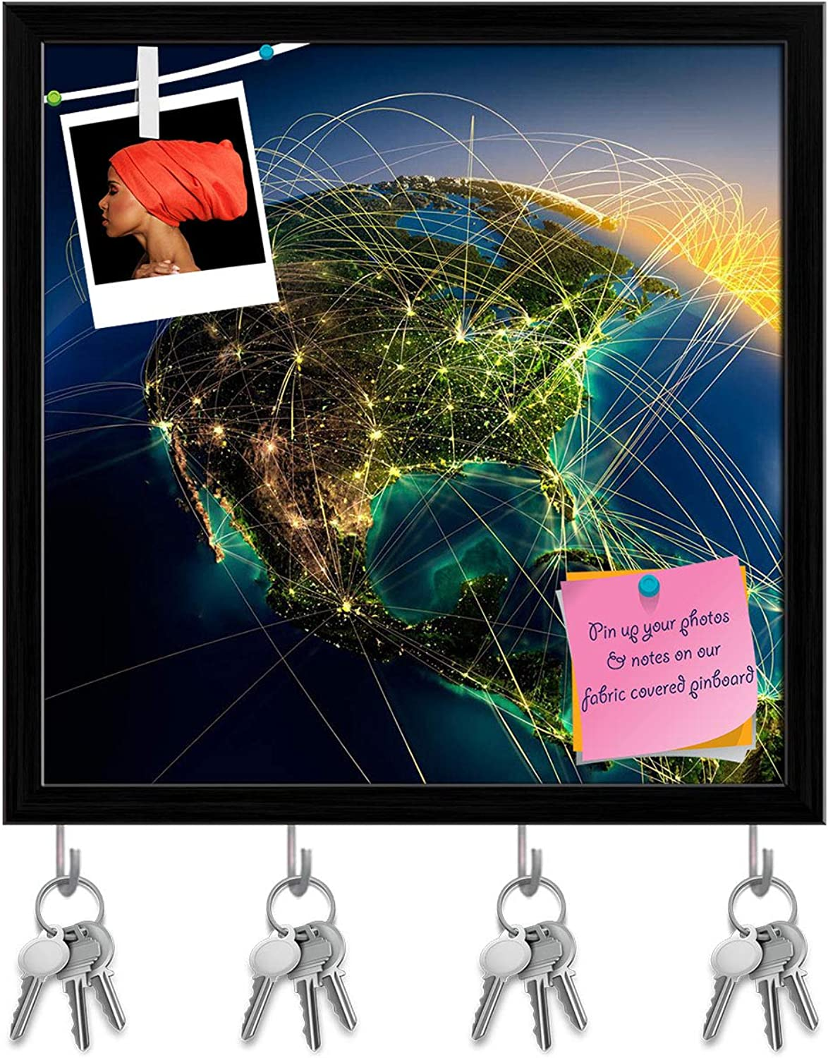 Artzfolio Highly Detailed Planet Earth D2 Key Holder Hooks   Notice Pin Board   Black Frame 20 X 20Inch