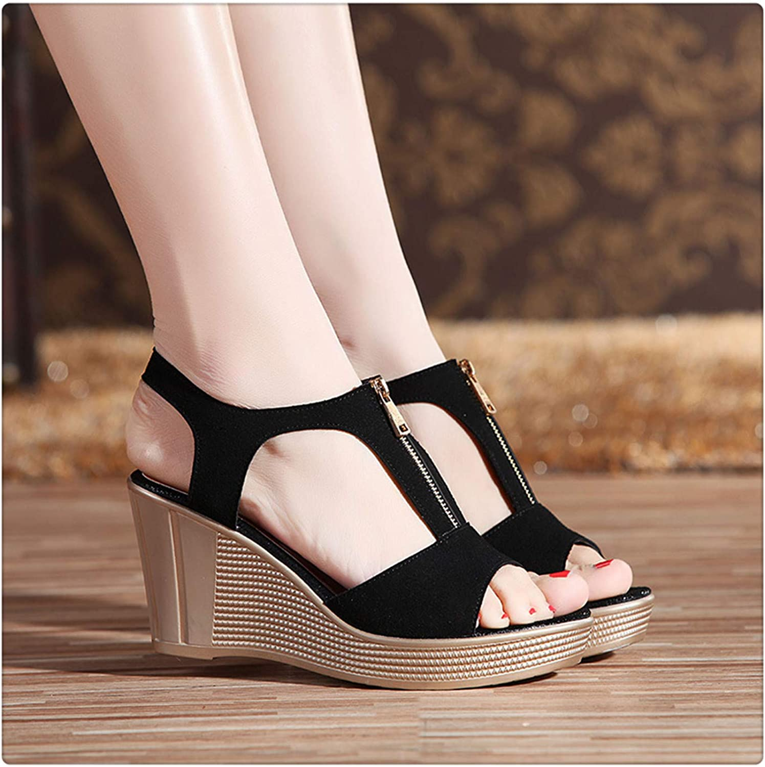 ANGERT& New Fish Mouth Classic Non-Slip Wedge Women Sandals 2019 Fashion Summer Rome Sandals Women Solid color Zipper 34-43 Size Black 37