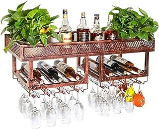 ZHXYY Organisation de Rangement de Cuisine Casiers à vin Vintage Support Mural en métal Double Couche Debout Libre |Porte...