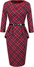 HOMEYEE Women's Vintage Tartan Wear to Work Bodycon Dress B267