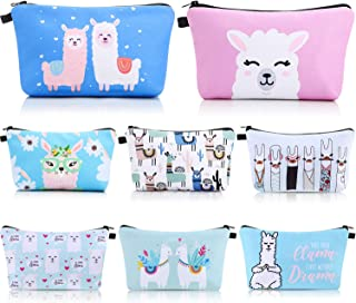 Details about  /Set of 3 Pink and White Llama Print Makeup Accessory Bags Coin Purse