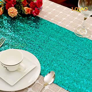 LQIAO Christmas Green Sequin Table Runner-12x72in Green Party Events DIY