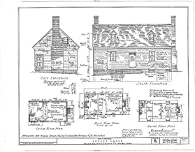 Historic Pictoric Blueprint Diagram HABS MD,21-EATO.V,7- (Sheet 1 of 2) - Locust Grove, Villa Road, Easton, Talbot County, MD 44in x 32in
