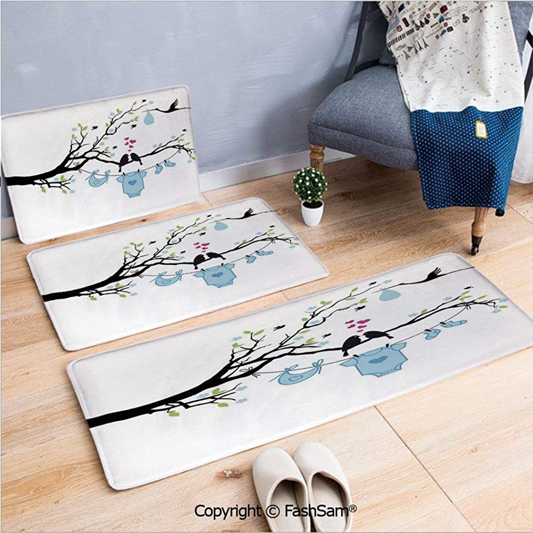 FashSam 3 Piece Flannel Bath Carpet Non Slip Love Birds on Tree and Child Clothes Hanging Design Front Door Mats Rugs for Home(W15.7xL23.6 by W19.6xL31.5 by W19.6xL59)