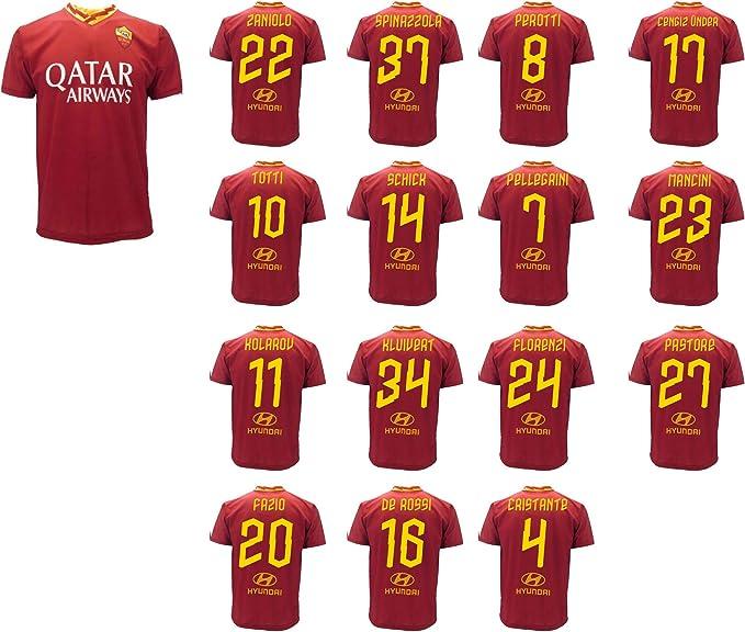 Maglia Roma Giocatori Rosa 2019 2020 AS Roma Adulto Bambino Totti De Rossi Spinazzola Pellegrini Mancini Zaniolo Florenzi Kolarov Cengiz Under ...