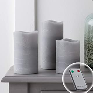 Lights4fun, Inc. Set of 3 Gray Wax Battery Operated Flameless LED Pillar Candles with Remote Control