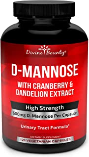 D-Mannose Capsules - 600mg D Mannose Powder per Capsule with Cranberry and Dandelion Extract to Support Normal Urinary Tra...