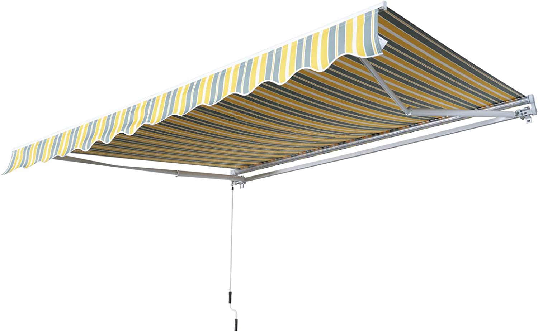 Outsunny Gelenkarmmarkise Sonnenschutz Handkurbel Balkon Alu Gelb+Grau 2,95x2,5m Markise