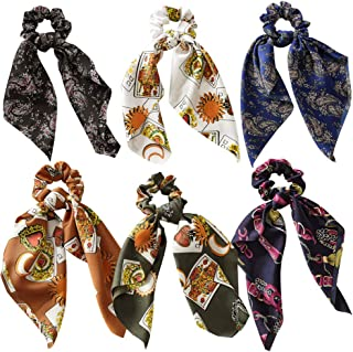 6Pcs Bowknot Hair Scrunchies Silk Satin Scarf Hair Ties Chiffon Floral Scrunchie Ponytail Holder with Bows Dot Flower Pattern Hair Scrunchy Accessories Ropes for Women