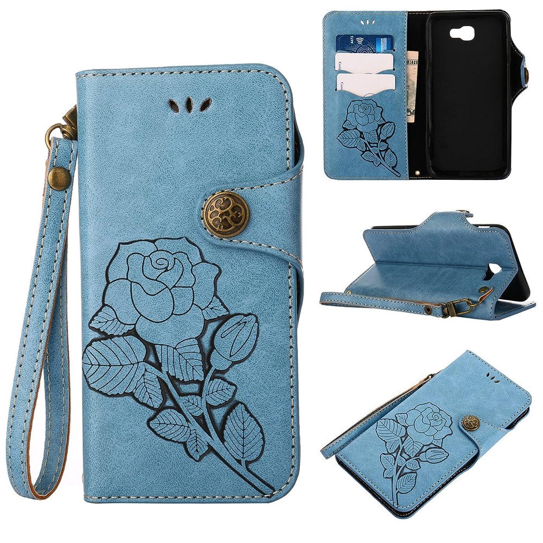 J7 Perx Case,IVY Galaxy J7 Prime Wallet Phone Case [Rose Retro Style][Kickstand & Wrist Strap] Leather Case Flip Cover For Samsung Galaxy J7 V / J7 Sky Pro / On7 Prime/On Nxt G610F SM-J727 - Blue