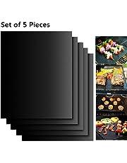 バーベキューグリルシート BBQシート 5枚セット 軽量 耐熱 繰り返す使える bbq網/鉄板用 オーブン/電子レンジにも適用 FDA認定 40x33cm