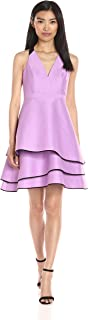 Halston Heritage Women's Halter Neck Dress W Layered Skirt