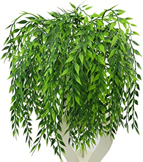 3 Bouquets Realistic Artificial Plants Fake Weeping Willow Artificial Plastic Shrubs for Outdoors Home Table Kitchen Office Wedding Garden Grave Decorations