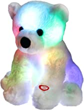 Bstaofy Glow Polar Bear LED Stuffed Animals Night Light Soft Plush Adorable Floppy Toy Gift for Kids on Christmas Birthday Festival Occasions, 9.5'', White