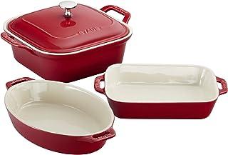 Staub Ceramics 4-pc Baking Dish Set-Cherry