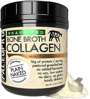 PaleoPro Bone Broth Collagen Powder + Turmeric Root, Hot or Cold Protein Powder Beverage, Keto Ingredients, from Pastured ...