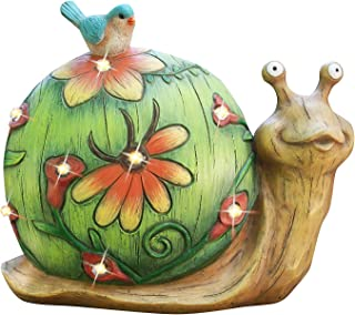 Garden Statue Snail Figurine - Solar Resin Statue with LED Lights for Indoor Outdoor Fall Decor, Thanksgiving Patio Lawn Yard Decorations, 10 x 8.5 Inch, Housewarming Gift